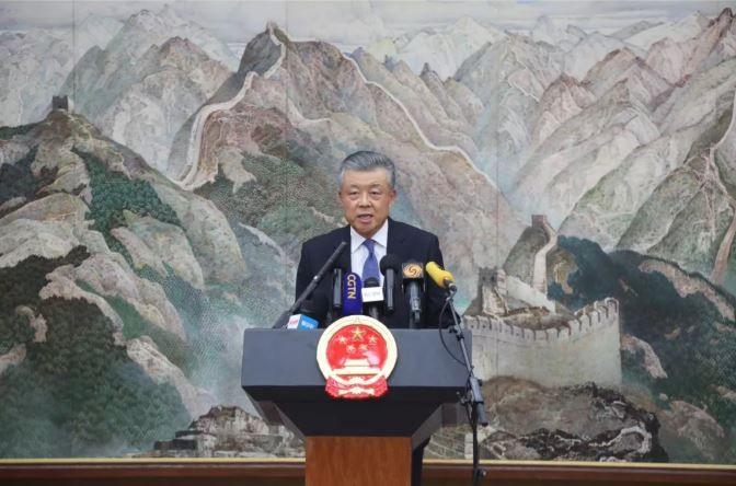 中国驻英国大使刘晓明就香港问题举行中外记者会
